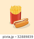 French fries in paper box and hot dog with mustard 32889839