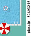 プール パラソル バカンスのイラスト 32893246