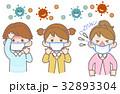 子供 マスク ウイルスのイラスト 32893304