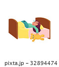 Pretty little girl sleeping with teddy bear in bed 32894474
