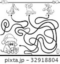 paths maze game with dogs for coloring 32918804