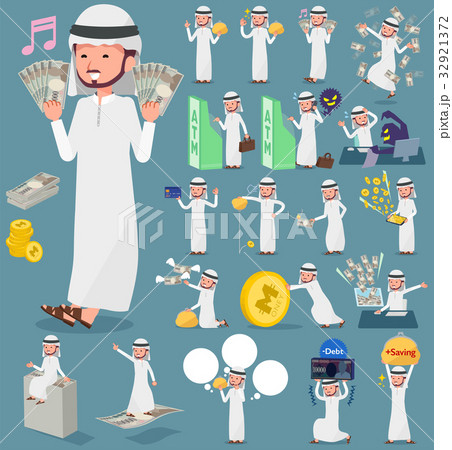 flat type Arab man_moneyのイラスト素材 [32921372] - PIXTA