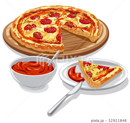 pizza with tomato sauce 32921846