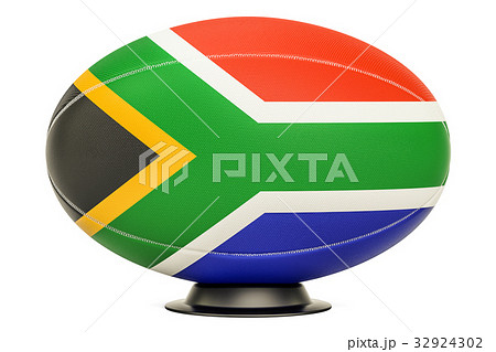 Rugby Ball with flag of South Africa, 3D renderingのイラスト素材 [32924302] - PIXTA