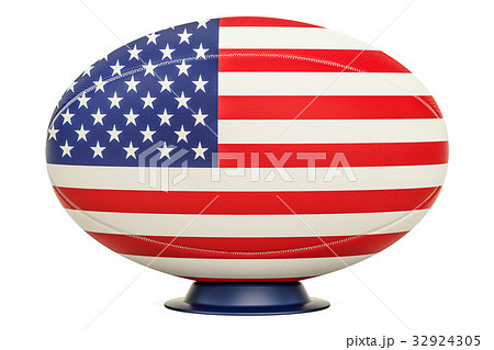 Rugby Ball with flag of USA, 3D renderingのイラスト素材 [32924305] - PIXTA