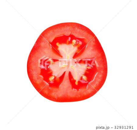 tomato slice isolated on white backgroundの写真素材 32931291 pixta