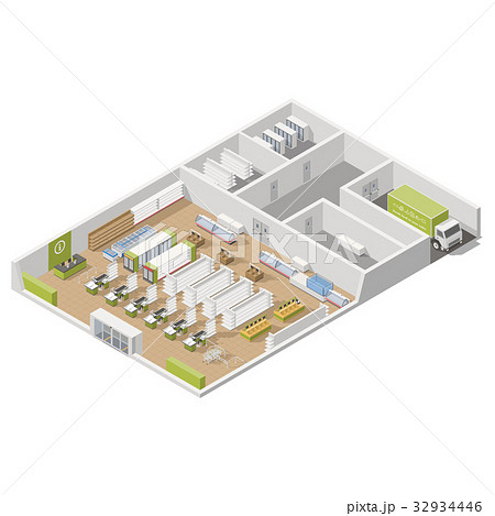 Grocery supermarket with storage rooms 32934446