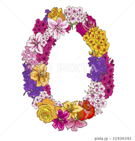 Zero digit made of different flowers.  32936392
