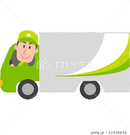 笑顔でトラックを運転する宅配スタッフ 32936630