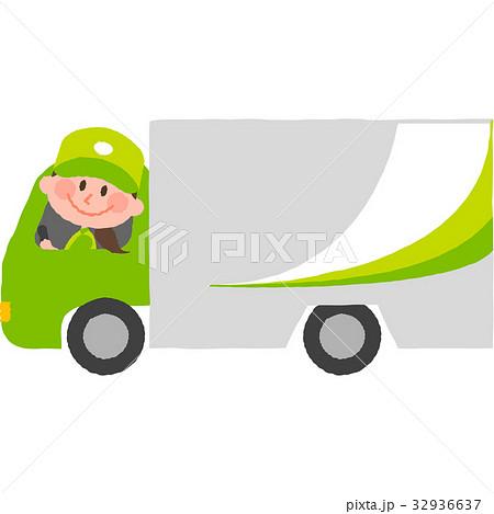 笑顔でトラックを運転する宅配スタッフ 32936637