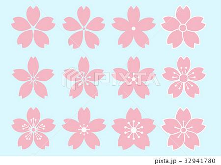 サクラの花 デザイン 12種のイラスト素材 32941780 Pixta