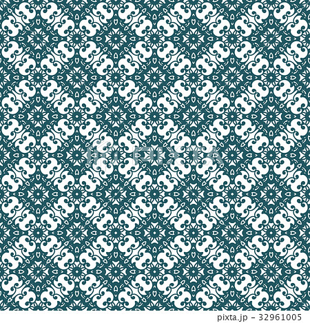 Cyan Damask Seamless Pattern Background. Vector.のイラスト素材 [32961005] - PIXTA