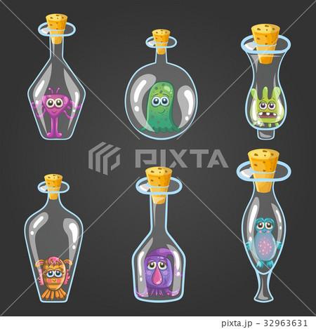Big set of bottle elixir with monstersのイラスト素材 [32963631] - PIXTA
