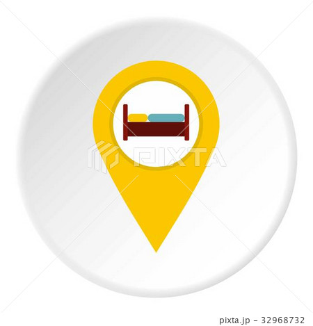 yellow map pointer with symbol hotel icon circleのイラスト素材