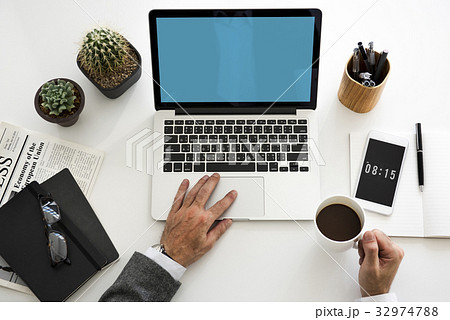 Man Working Hands Business Technologyの写真素材 [32974788] - PIXTA