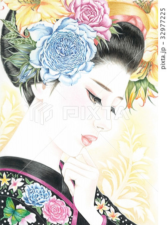 現代美人画着物と薔薇のイラスト素材 32977225 Pixta