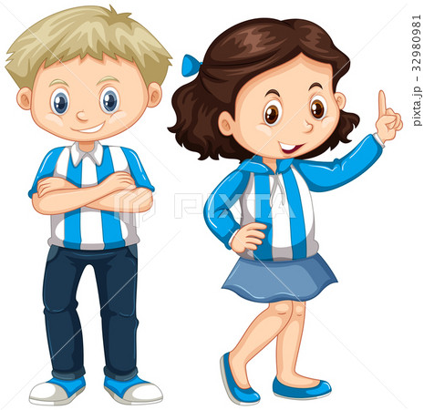 Girl and boy in blue and white shirt 32980981