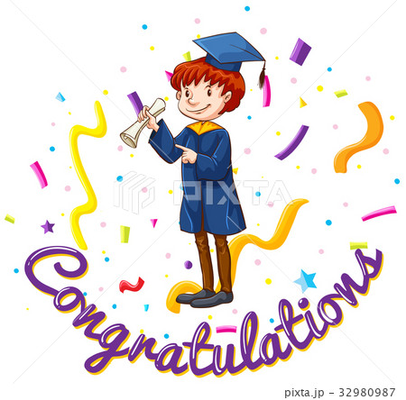 card template with man in graduation gownのイラスト素材 32980987