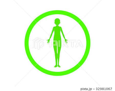 体の不調(緑色・言葉なし) 32981067