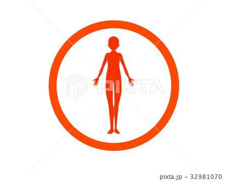 体の不調(オレンジ色・言葉なし) 32981070