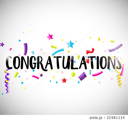 congratulations card template with ribbonsのイラスト素材 32981134
