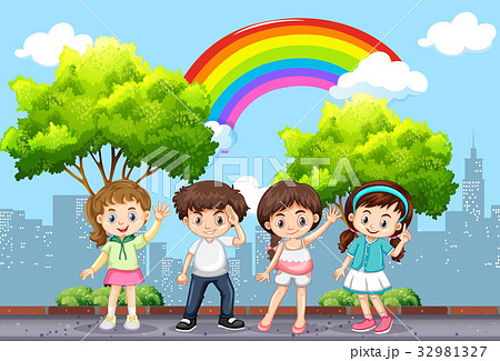 happy children in the park with rainbow in skyのイラスト素材