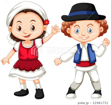 Romania girl and boy in traditional clothes 32981752