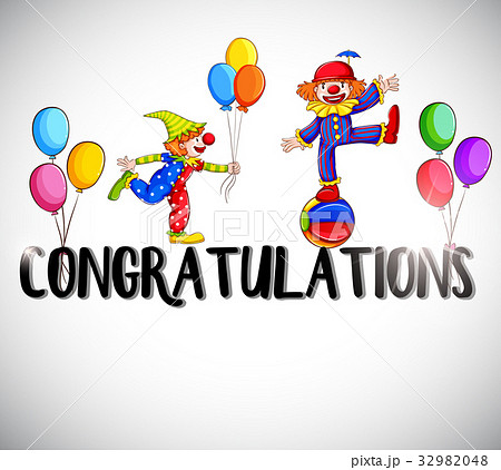 congratulations card template with clownsのイラスト素材 32982048
