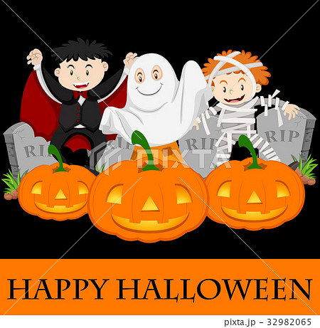 happy halloween card template with kids in costumeのイラスト素材