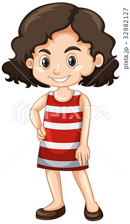 Little girl in red and white dress 32982127