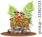 Four meerkats standing on stone 32982323