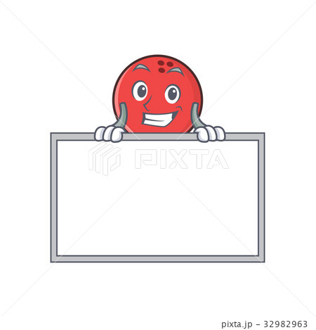 Grinning bowling ball character cartoon with board 32982963