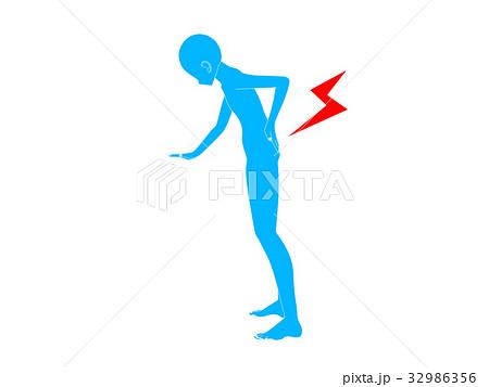 腰痛のシルエット(青色) 32986356