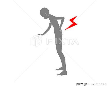 腰痛のシルエット(灰色) 32986376