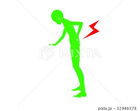 腰痛のシルエット(緑色) 32986378