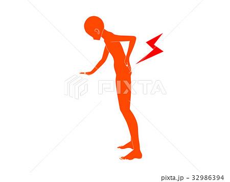 腰痛のシルエット(オレンジ色) 32986394
