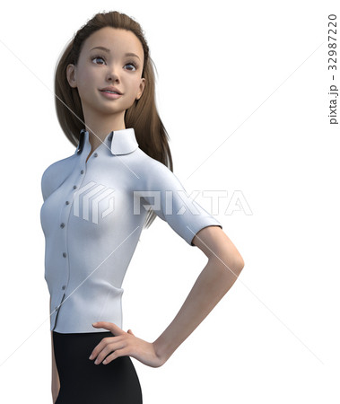 ポーズするビジネスウェアの女性 表情アラカルトperming3DCGイラスト素材 32987220