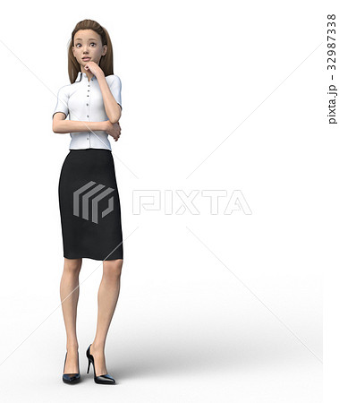 ポーズするビジネスウェアの女性 表情アラカルト perming3DCGイラスト素材 32987338