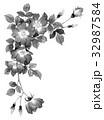 一重咲きバラの上部フレーム素材モノトーン 32987584