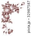 一重咲きバラの上部フレーム素材セピア 32987587