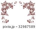 一重咲きバラの上部フレーム素材セピア 32987589