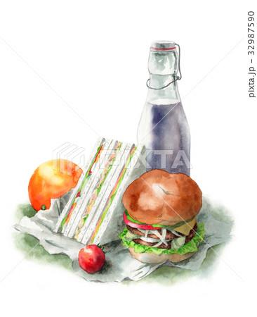 ハンバーガーとサンドイッチのランチセット 32987590