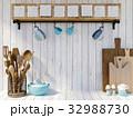 Kitchen utensils on white wood background  32988730