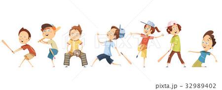 Set Of Children Characters Playing Baseball 32989402