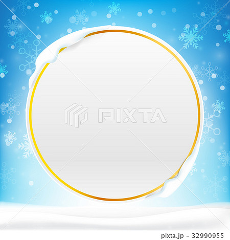 blank circle frame with copy space and winterのイラスト素材