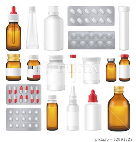 Pharmaceutical Bottles Packs Pills Realistic Set  32991528
