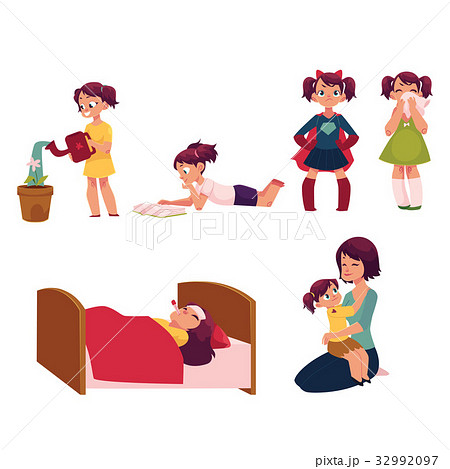 Daily routine set, little girl helping mother 32992097