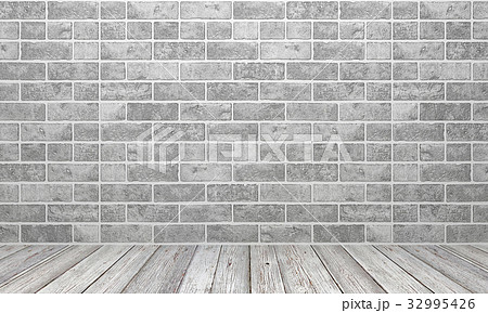 White stone wall and white wood floor 32995426