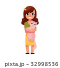 Little girl, child kid standing, holding a cat 32998536