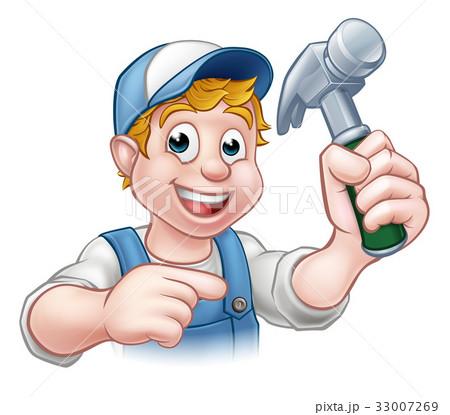 Carpenter Handyman Holding Hammer 33007269